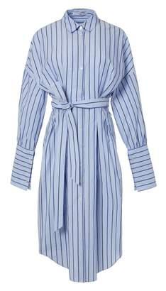 Tibi Garcon Striped Shirtdress with Wide Cuff