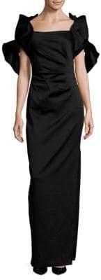 Badgley Mischka Pleated Cluster Floor-Length Dress