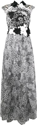 Talbot Runhof floral embroidered tulle dress