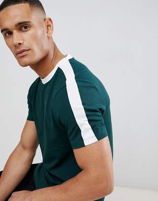 New Look ringer t-shirt with sleeve stripe in green