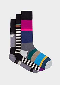 Paul Smith Men's Black Mixed-Stripe And Polka Dot Socks Three Pack