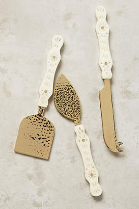 Anthropologie Hammered Brass Cheese Knives, Set of 3