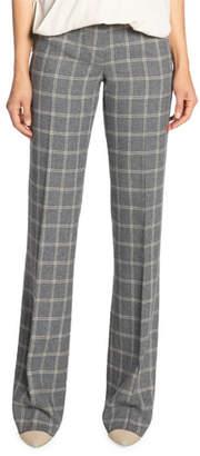 Santorelli Plaid Wool Flannel Straight Leg Pants