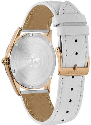Citizen Corso Rose-Goldtone White Leather Strap Watch