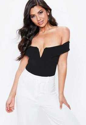 Missguided Black Bardot V Plunge Bodysuit