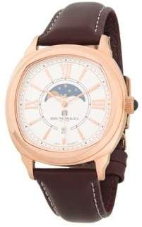 Bruno Magli Analog Moonphase Rose Goldtone Leather Strap Watch