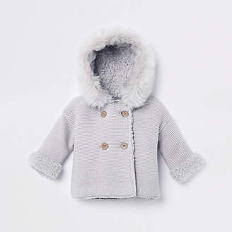 River Island Baby grey faux fur knit hooded cardigan