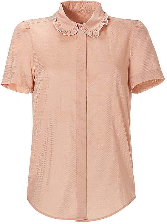 SEE BY CHLOE Sandy Brown Bead -Embellished S/S Top