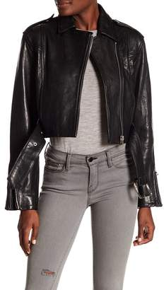 Frame Crop Moto Leather Jacket