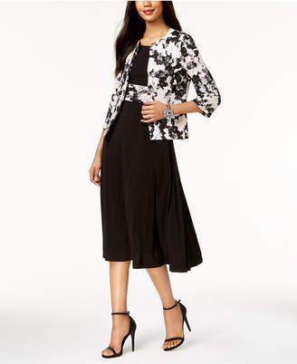 Jessica Howard Metallic-Dot Floral Dress & Jacket