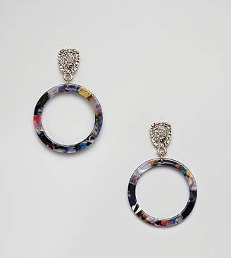 Glamorous circle drop resin earrings