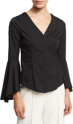 Milly Sofia Bell-Sleeve V-Neck Poplin Blouse