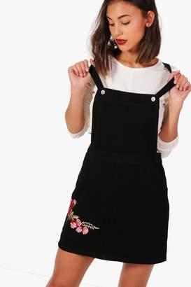 boohoo Rose Embroidered Denim Pinafore Dress