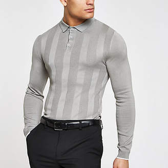 River Island Mens Grey muscle fit long sleeve polo shirt