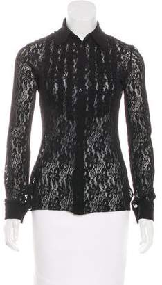 Fuzzi Lace Button-Up Top