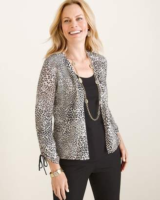 Chico's Chicos Animal-Print Ruched-Sleeve Cardigan