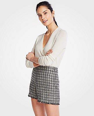 Ann Taylor Petite Fringe Tweed Shorts