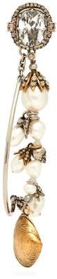 Alexander McQueen Shell, Pearl And Crystal Single Earring - Womens - Silver