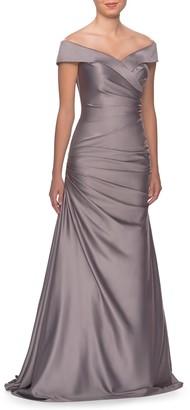 La Femme Off the Shoulder Ruched Satin Mermaid Gown