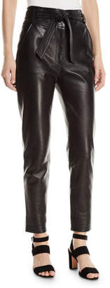 Veronica Beard Faxon Leather Tie-Waist Pants