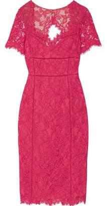 Marchesa Cutout-Back Cotton-Blend Lace Dress
