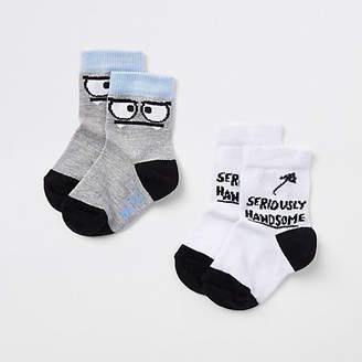 River Island Mini boys white 'handsome' socks pack