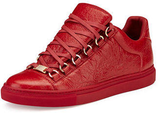 Balenciaga Crackled Leather Lace-Up Sneaker $595 thestylecure.com