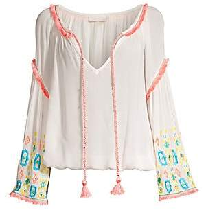 Ramy Brook Women's Ellery Embellished Peasant Fringe Top