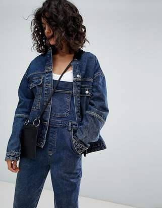 Uncivilised Oversized Denim Jacket with Cord Collar