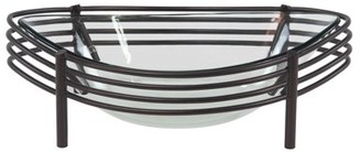 DecMode Decmode Modern Metal And Glass Curved Oval Decorative Bowl, Black