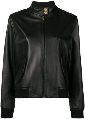 Moschino Bear logo leather jacket