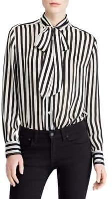 Polo Ralph Lauren Striped Long-Sleeve Silk Button-Down Shirt