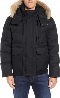 Andrew Marc Bohlen Down & Feather Bomber Jacket with Removable Genuine Coyote Fur Trim Hood