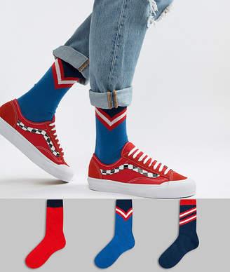 Asos Design DESIGN ankle socks with varsity design 3 pack