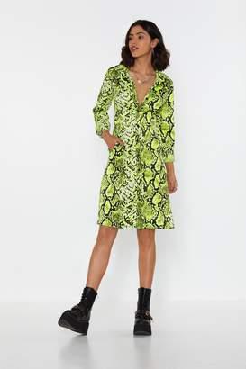 Nasty Gal Womens I Lime It Like That Snake Shirt Dress - Green - S
