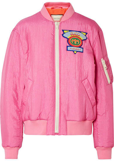 Gucci - Appliquéd Satin-shell Bomber Jacket - Pink