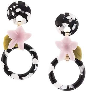 Lele Sadoughi marble floral hoops