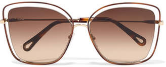 Chloé Poppy Cat-eye Acetate And Gold-tone Sunglasses - Beige