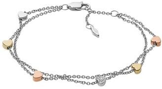 Fossil Heart Tri-Tone Steel Double-Chain Bracelet Jewelry