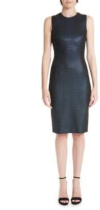 Versace Metallic Shimmer Sheath Dress
