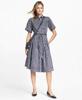 Brooks Brothers Petite Geometric-Print Cotton Sateen Shirtdress