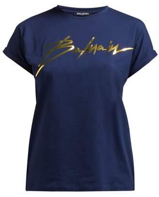 Balmain Logo Print Cotton T Shirt - Womens - Navy Gold