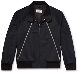 Maison Margiela Zip-detailed Twill And Corduroy Blouson Jacket - Midnight blue