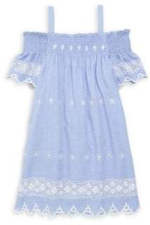 Ella Moss Girl's Chambray Eyelet Cold-Shoulder Dress