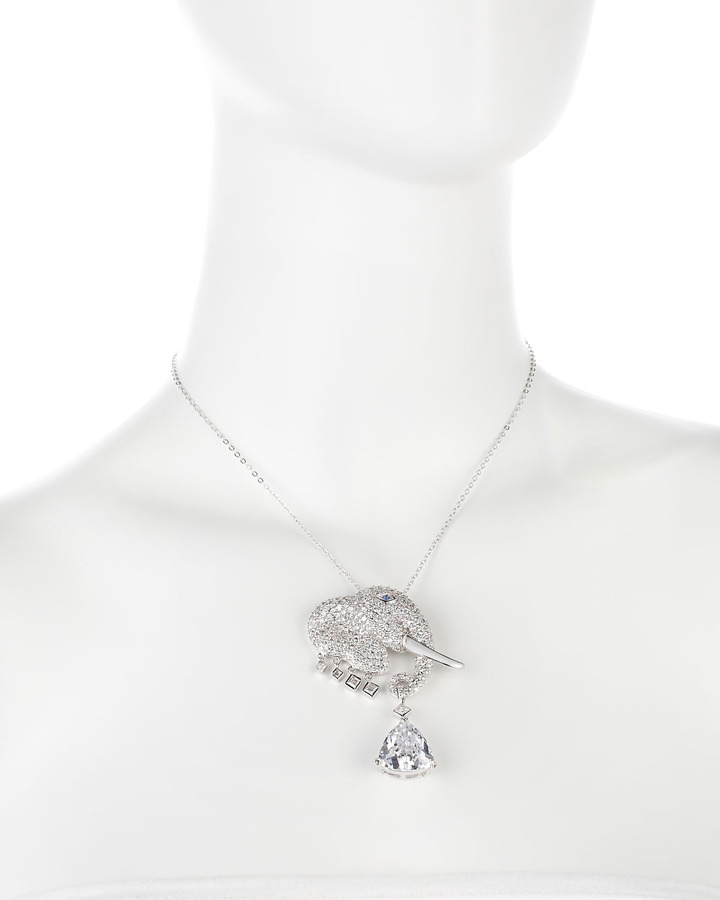Kenneth Jay Lane CZ by Cubic Zirconia Elephant Pendant Necklace