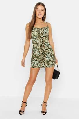 boohoo Petite Animal Cowl Neck Slip Dress