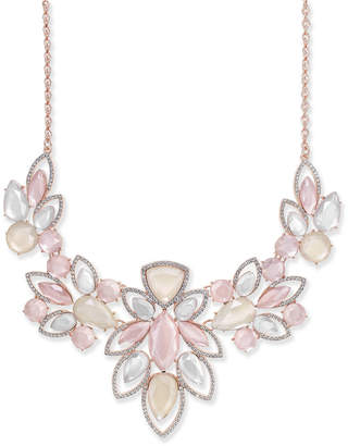 "INC International Concepts I.N.C. Rose Gold-Tone Pavé & Pink Stone Statement Necklace, 18"" + 3"" extender, Created for Macy's"