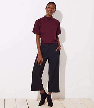 LOFT Ribbed Wide Leg Crop Pants