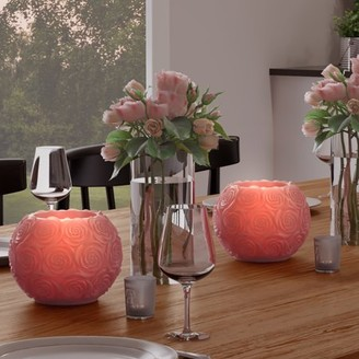 LED Candle with Remote Control-Rose Ball Design Scented Wax, Realistic Flickering or Steady Flameless Sphere Light-Ambient Home Decor by Lavish Home 2 pc