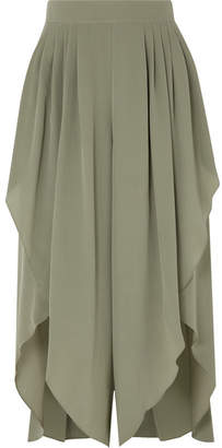 Chloé Pleated Silk Crepe De Chine Pants - Green